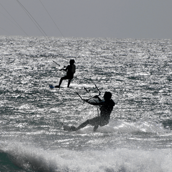 Image of two Kitesurfer for Kitesurfing Kiteboarding Lessons School Tuition West Sussex Wittering Bracklesham Close to London